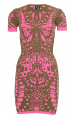 McQ ALEXANDER MCQUEEN - Khaki and Pink Intarsia Dress - Rent Designer Dresses at Girl Meets Dress