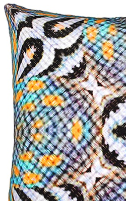ANJALI HOOD - Blue Throated Macaw Cushion - Designer Dress hire