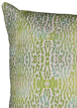ANJALI HOOD - Green Pigeon Velvet Cushion - Designer Dress hire