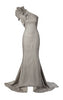 ADRIANNA PAPELL - Gunmetal Ruffle Gown - Designer Dress hire
