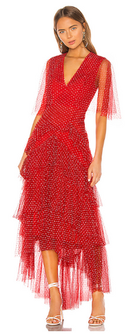 BCBGMAXAZRIA - Tiered Polka Dot Gown - Designer Dress hire