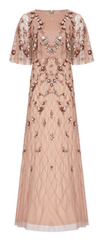 ADRIANNA PAPELL - Bead Cape Rose Dress - Designer Dress Hire