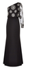 ADRIANNA PAPELL - Beaded One Sleeve Black Dress - Designer Dress hire