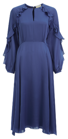 BEULAH - Ophelia Blue Ruffle Dress - Designer Dress hire
