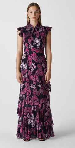 WHISTLES - Butterfly Devore Maxi Dress - Designer Dress hire