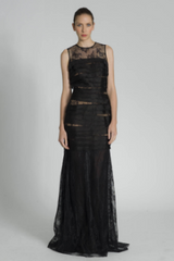 CARMEN MARC VALVO - Sleeveless Lace Shutter Gown - Rent Designer Dresses at Girl Meets Dress