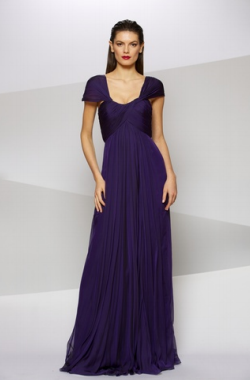 CARMEN MARC VALVO - Iridescent Chiffon Gown - Designer Dress hire