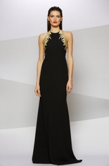 CARMEN MARC VALVO - Crepe Halter Gown - Rent Designer Dresses at Girl Meets Dress