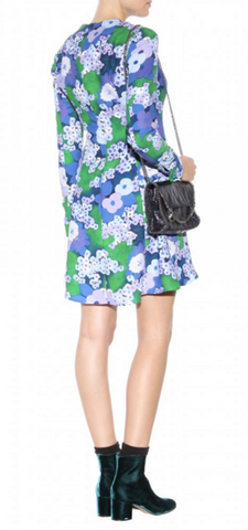 CARVEN - Retro Blue Floral Dress - Designer Dress hire