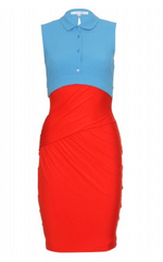 CARVEN - Two Tone Drape Dress - Designer Dress Hire