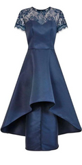 CHI CHI LONDON - Lace Navy Dip Hem Dress - Rent Designer Dresses at Girl Meets Dress