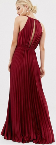 CHI CHI LONDON - Oxblood Satin Maxi Dress - Designer Dress hire