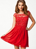 CLUB L - Crochet Babydoll Dress Red - Designer Dress hire