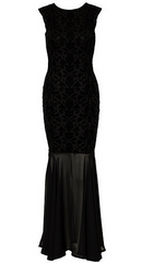 CLUB L - Flocked Fishtail Maxi Dress - Rent Designer Dresses at Girl Meets Dress