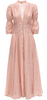 Self Portrait - Pink Frill Sleeve Maxi - Designer Dress hire