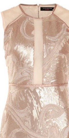DEX - Sheer Champagne Sequin Gown - Designer Dress hire