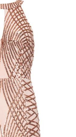 QUIZ - Rose Gold Sequin Mermaid Gown - Designer Dress hire