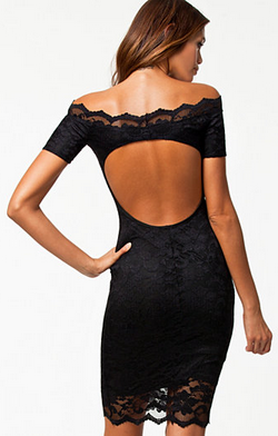 ELISE RYAN - Off Shoulder Lace Dress Black - Designer Dress hire