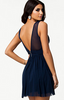 ELISE RYAN - Trim Cross Front Dress Blue - Designer Dress hire