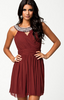 ELISE RYAN - Trim Cross Front Dress Red - Designer Dress hire