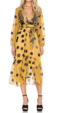 FOR LOVE & LEMONS - Heather Scarf Dress Mustard - Designer Dress hire