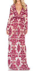 FOR LOVE & LEMONS - Temecula Maxi Dress Wine - Designer Dress Hire