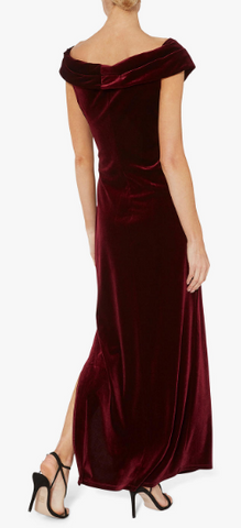 GINA BACCONI - Cassandra Dress Wine - Designer Dress hire