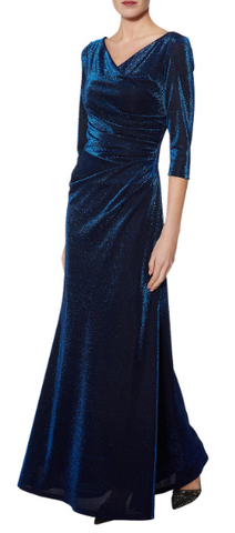 GINA BACCONI - Clara Metallic Maxi Dress - Designer Dress hire