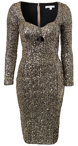 GLAMOROUS - Long Sleeve Sequin Dress Gold - Designer Dress hire