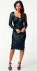 GLAMOROUS - Long Sleeve Sequin Dress Navy - Designer Dress hire