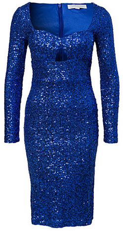 GLAMOROUS - Long Sleeve Sequin Dress Blue - Designer Dress hire