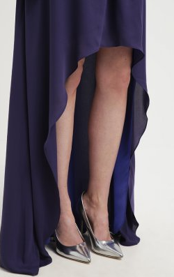 HALSTON HERITAGE - Aubergine Cocktail Gown - Designer Dress hire