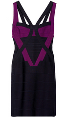 HERVE LEGER - Colour-Block Bandage Dress - Designer Dress Hire