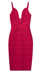 HERVE LEGER - V-Neck Bandage Dress - Rent Designer Dresses at Girl Meets Dress