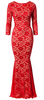 Self Portrait - Red Scattered Midi Dress - Designer Dress hire