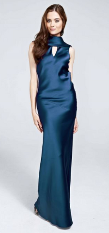 HOTSQUASH - Silky Teal Cowl Gown - Designer Dress hire