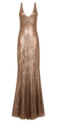 HOTSQUASH - V Sequin Gold Gown - Rent Designer Dresses at Girl Meets Dress