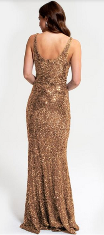 HOTSQUASH - V Sequin Gold Gown - Designer Dress hire