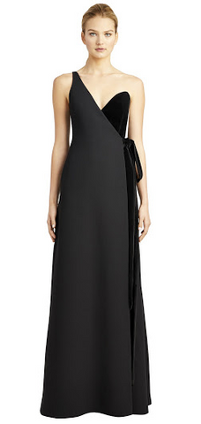 e0a279ffd37 Hire this black long dress for your next event. The beauty of simplicity is  seen in this asymmetric velvet and crepe gown by Jill Jill Stuart.