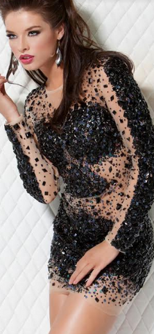 JOVANI - Black Sequin Dress - Designer Dress hire
