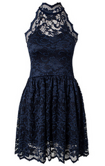 LILI LONDON - Lace Halter Neck Skater Dress - Designer Dress Hire