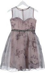 LITTLE MISTRESS - Grey Floral Cocktail Dress - Designer Dress Hire