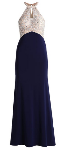 MASCARA - Navy Encrusted Gown - Designer Dress hire