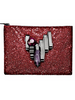 MAWI - Crimson Red Glitter Clutch - Designer Dress hire