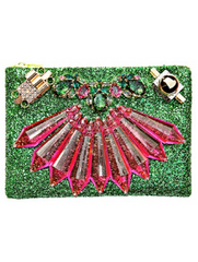 MAWI - Emerald Green Glitter Clutch - Designer Dress Hire