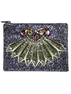 MAWI - Pewter Glitter Clutch - Designer Dress hire