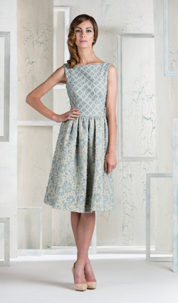 a80633e58e851 The Marnie dress by Madderson London is demure and ladylike in powder-blue  and pale gold. The clean, classic silhouette is the perfect format to  showcase ...