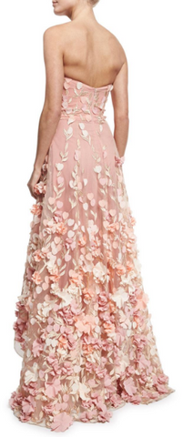 2e57a6a68ae MARCHESA NOTTE - Blush Strapless Tulle Gown hire at Girl Meets Dress ...