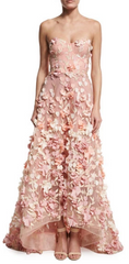 MARCHESA NOTTE - Blush Strapless Tulle Gown - Rent Designer Dresses at Girl Meets Dress