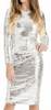 MATTEO - Silvia Silver Sequin Dress - Designer Dress hire